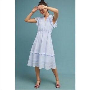 Anthro Dolan Ellory Silk Ruffle Midi Dress Blue S